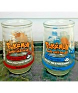 2 Vintage Pokemon Welchs Jelly Jar Cup Glass #07 Squirtle #52 Meowth Nin... - $34.64