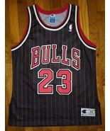 Authentic 1995 Champion Chicago Bulls Michael Jordan Black Pinstripe Jer... - $309.99