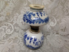 Vintage, Rare,  Beautiful,  4-pc Blue Willow 8.5in Tall Oil Lamp (#1) - $75.95