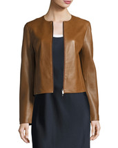 Classic Vintage Jewel Neck Hot Women Genuine Soft Lambskin Leather biker... - $149.00