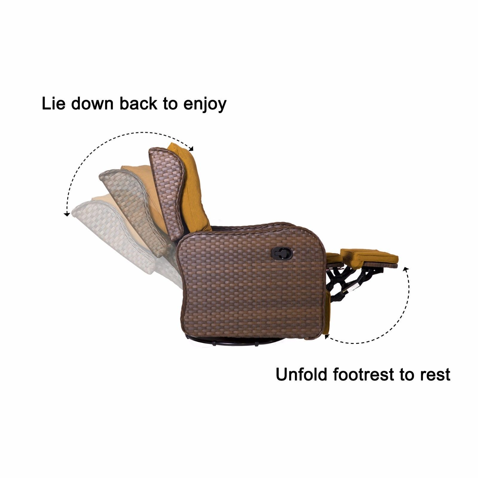 Outdoor Patio Rattan Wicker Rocking Cushioned Swing Garden Glider Lounge Chair