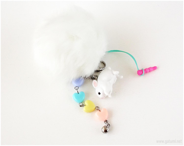 Pastel Rabbit Phone Charm with Pom Pom, Fairy Kei, Kawaii Accessories, Jfashion
