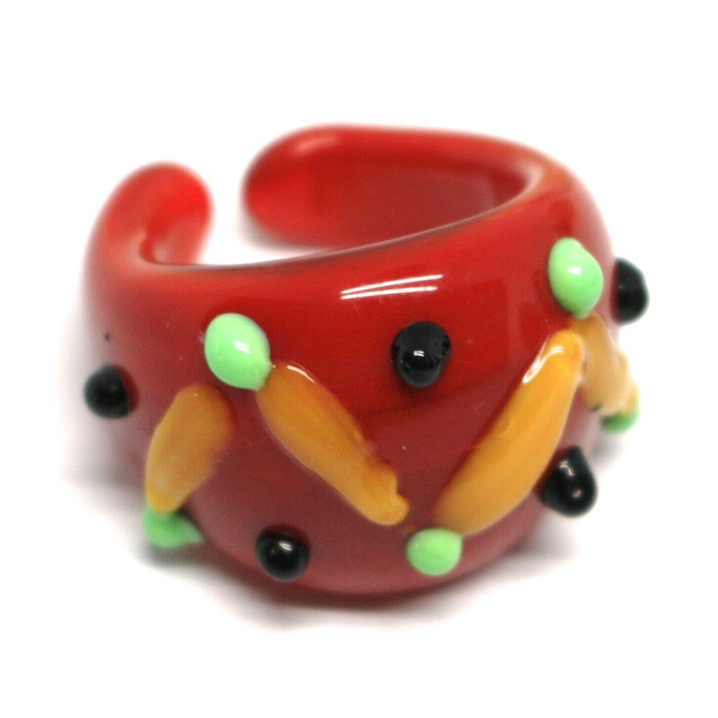 Ring Antique Murrina, Murano Glass, Red, Yellow, Wave, Polka dot Embossed