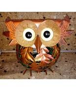 OWL Metal Autumn Tea light Holder Candle Leaves Orange Round - $15.83