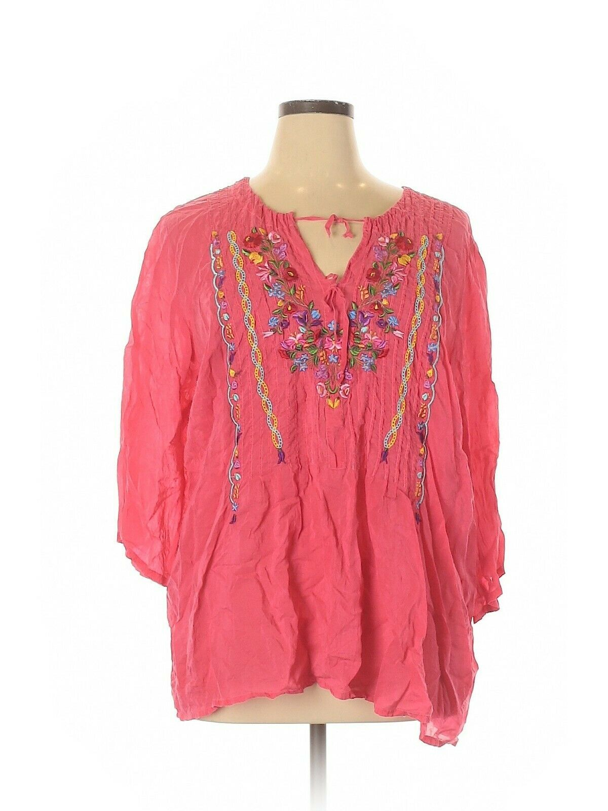 Johnny Was Women's Top Plus Size 1X Tunic Pink Boho Embroidered Relaxed Fit