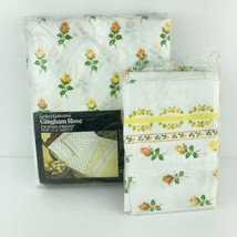 Vintage SEARS Queen Flat Sheet and Pillow Cases Yellow Gingham Rose Perc... - $29.69