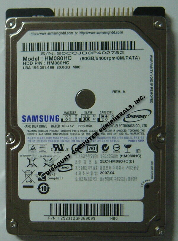 NEW Samsung HM080HC 80GB 2.5 inch 9.5MM IDE 44PIN Hard Drive Free USA Ship