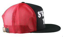 Kr3w Krew Black Red S'Kr3w You! FU Leather Strapback Trucker Baseball Hat NWT image 5