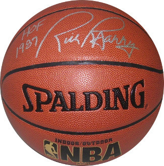 Rick Barry signed Spalding NBA TB Indoor/Outdoor Basketball HOF 1987 (Golden Sta