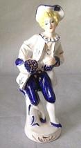 "VTG Colonial Gentleman Figurine Blue White 9"" Tall Wales Japan Victorian... - $18.31"