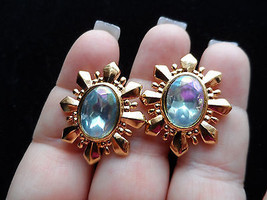 Vintage earrings gold tone robins egg blue star burst rhinestone earring... - $18.00