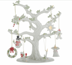 "Lenox Christmas Tree & 8 Miniature Ornaments Porcelain 10.5"" Star Angel NEW - $115.60"