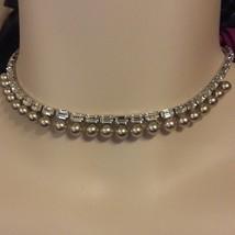 Wedding Vintage quartz Baguette and cultured pearl necklace 1950s - $28.49