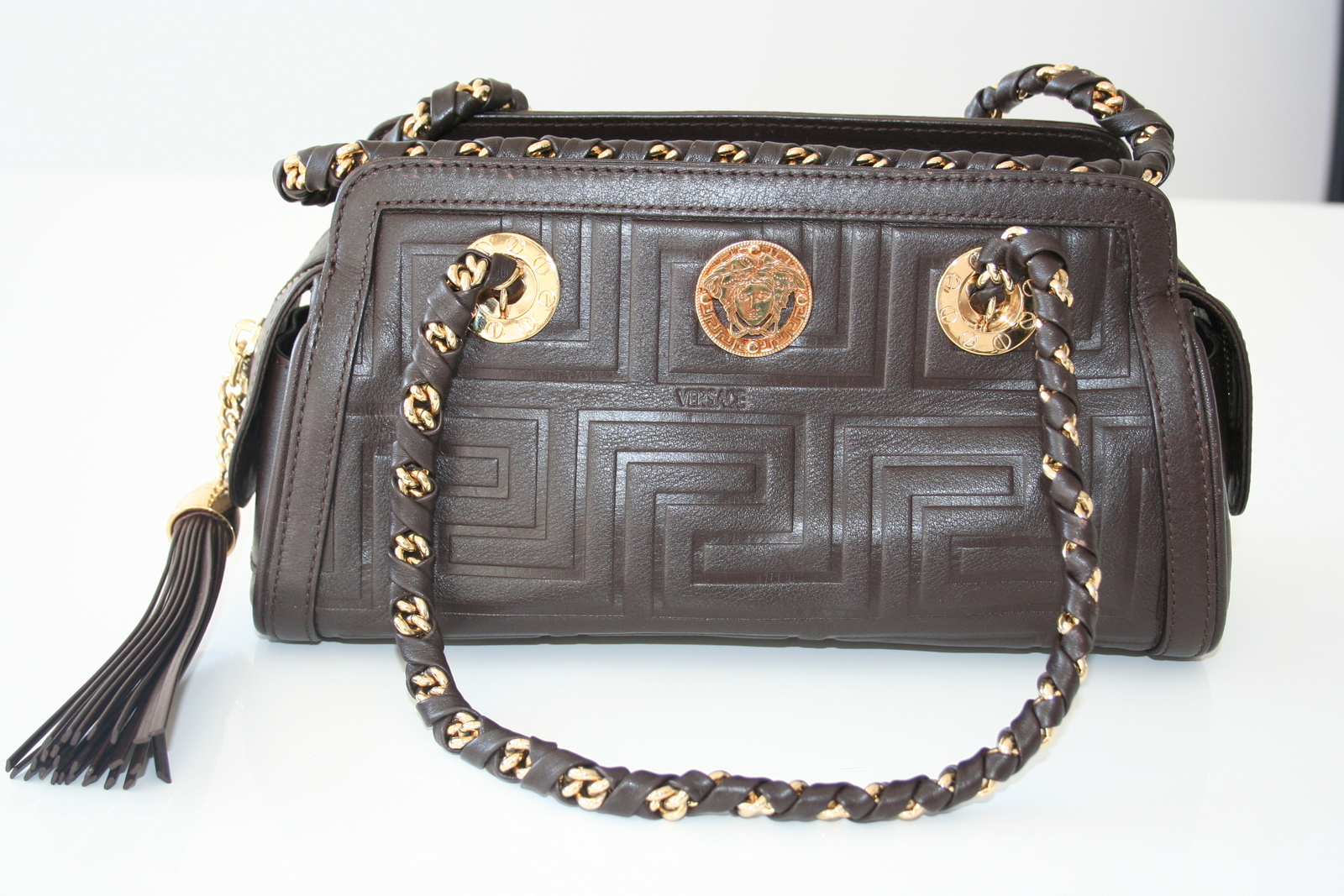 Primary image for Versace Brown Leather Medusa Bowling Bag