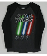 Star Wars Youth Large Long Sleeve Black T-Shirt 3 Lightsabers Red Blue G... - $11.30