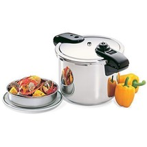 8-Quart Stainless Steel Pressure Cooker w Cover lock indicator & Steamin... - £69.95 GBP