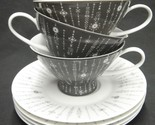 Rosenthal Tundra Grey Lot of 3 Cups & Saucers Mid Century Lines Dots Continental