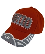 Ohio 2-Tone Men's Curved Brim Adjustable Baseball Cap with Stars Red/Gray - $11.95