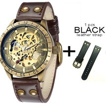 Men's Vintage Skeleton Mechanical Wrist Watch With Leather Strap Analog ... - $41.08