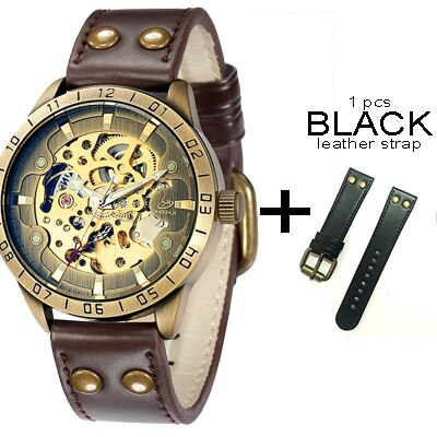 skeleton mechanical wrist watch with leather strap analog luminous hands shenhua 2018 automatic