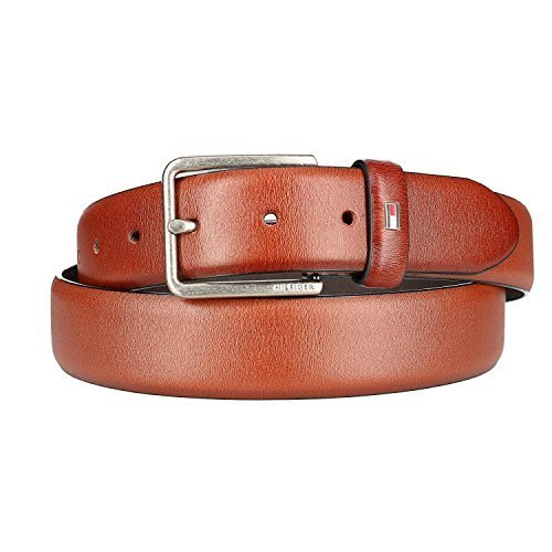 Tommy Hilfiger Men's Smooth Feather Edge Leather Belt, 38, Brown