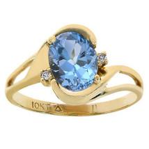 1.50 Carat Blue Topaz & 0.02 Carat Diamond Accent Ring 10K Yellow Gold - $246.51