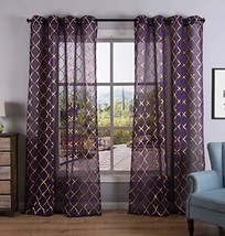Kotile Purple Sheer Curtains for Girls Room/Kids Room 63 Inch Length 2 P... - $23.28