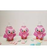Owl Baby Shower decoration | A set of 12 Owl Pink Favor Bottles | It's a... - $18.99