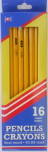 WOOD PENCILS #2 HB Lead Yellow with Red Erasers 16 Pencils/Pack - $2.96