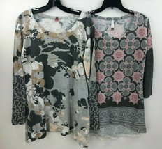 2 Sundance Before + Again Thermal Shirt Top Whimsy Rose Large Gray Flora... - $48.39