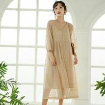 Korean Fashion V Collar Dot Printing Lantern Sleeve Lace Vintage Dress For Women - $42.99