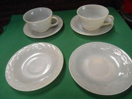 Great FIRE KING Set of 2 CUPS & SAUCERS and 2 FREE Saucers - $14.44