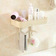 Wall Mounted Plastic Storage Rack Suction Bathroom Kitchen Shelf Basket Holder image 5