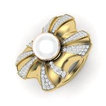 June Birthstone Wedding Ring Off White Pearl Diamond Engagement Ring Pro... - $849.99