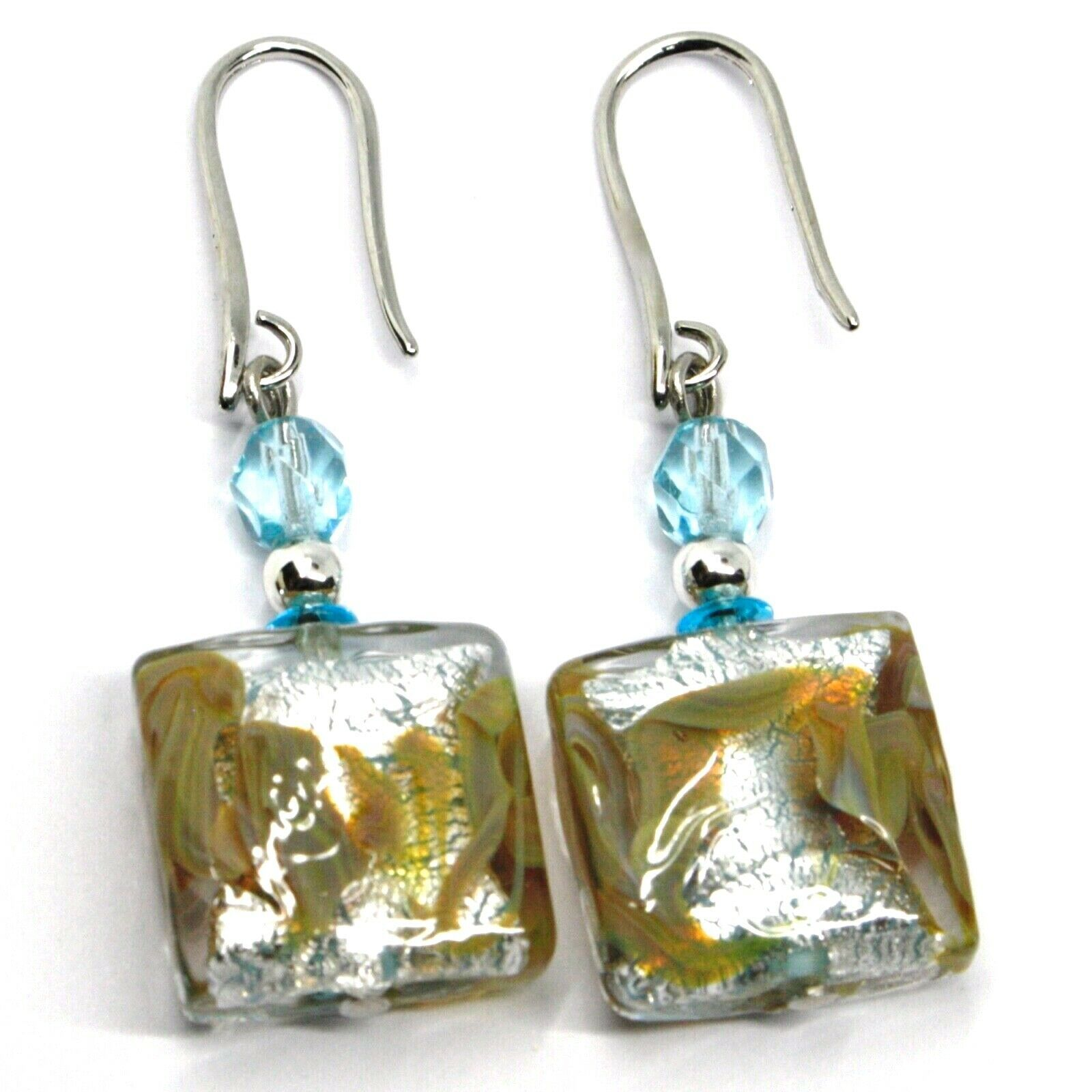 PENDANT EARRINGS WITH AZURE MURANO SQUARE GLASS & SILVER LEAF, MADE IN ITALY 5cm