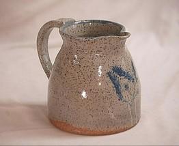 Primitive Stamped Stoneware Art Pottery Speckled Crock Pitcher Blue Floral - $98.99