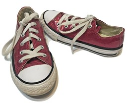 Converse All Star Youth Girls Lace Up Red Sparkle Tennis Shoes Size 12.5 - $18.54