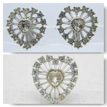 VTG CROWN TRIFARI Signed Silver Tone Clear Rhinestone Heart Clip Earring... - $49.50