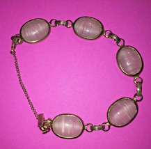 Vintage Sarah Coventry bracelet glass cabachon gold plate - $37.40