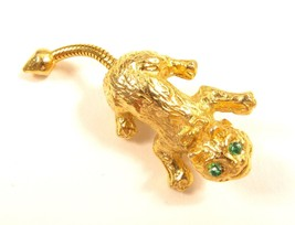 Vintage Green Rhinestone Eye'S Gold Tone Startled Nervous Cat Brooch Pin... - $11.87