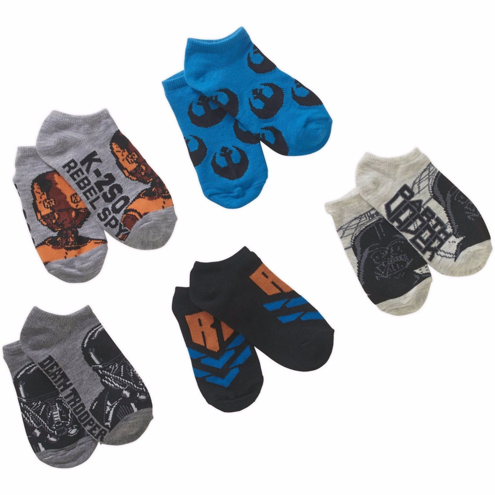 Star Wars Rebels Boys No Show Socks 5 Pair Size LARGE 4-10  NEW