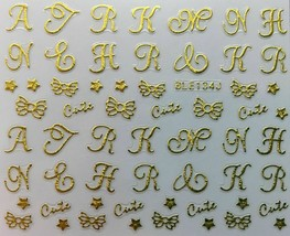 Nail Art 3D Decal Stickers Gold Alphabet Letters BLE134J - $3.09