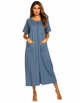 Ekouaer Women Robes Zipper Front Short Sleeve Full Length Housecoat with... - $58.41+