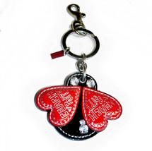 Coach Poppy Ladybug Jeweled Bag Charm Leather Fob Black and Red 92657 - $99.00