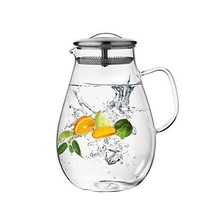 Hiware Glass Pitcher with Stainless Steel Lid and Spout 64 Oz Water Cara... - $33.72