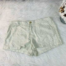 Misses Abercrombie & Fitch Size 8 Shorts White Tapestry Shorts Silver Ac... - $13.50