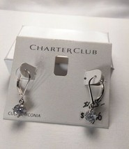 Charter Club Silver Cubic Zirconia Drop Dangle Earrings - New - $11.88