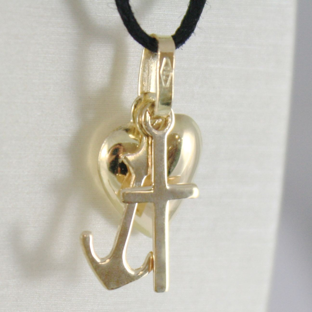 18K YELLOW GOLD FAITH HOPE CHARITY PENDANT CHARM 22 MM SMOOTH MADE IN ITALY