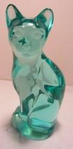 Fenton Art Glass Aqua Blue Cat  - $23.70