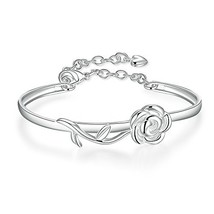 BEMI Romantic 925 Silver Rose Butterfly Charm Bangle Bracelet Statement ... - $9.50